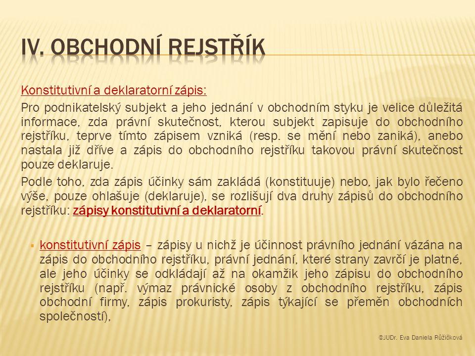 IV. Obchodní rejstřík Konstitutivní a deklaratorní zápis: