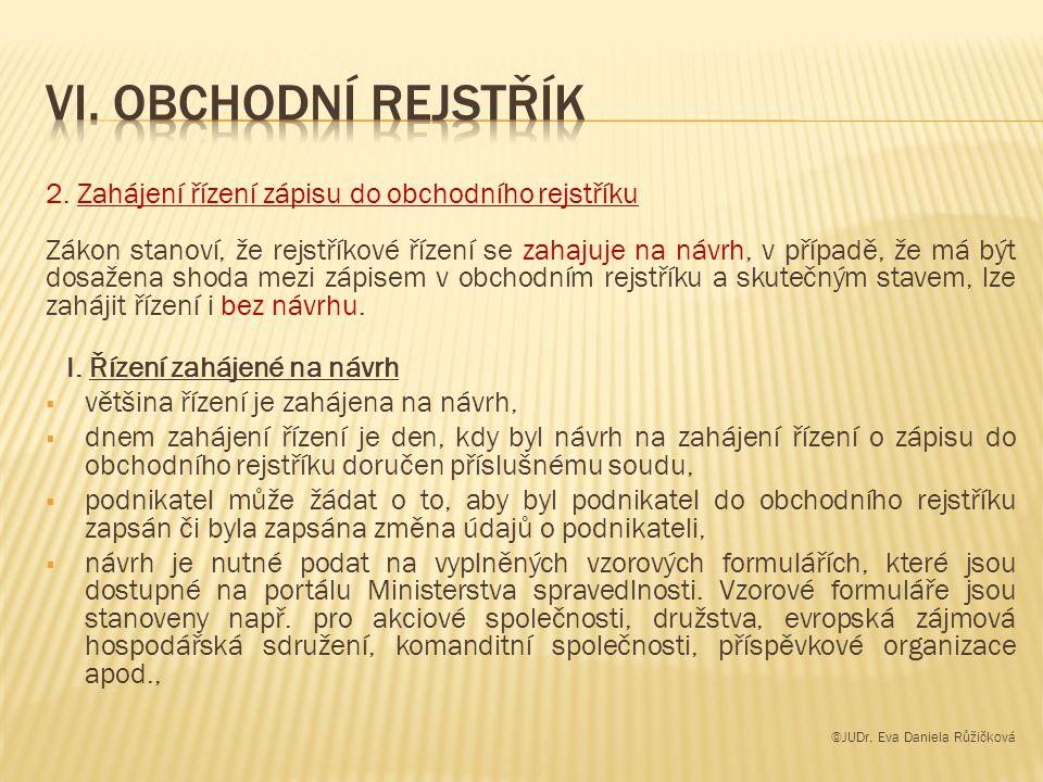 Vi. Obchodní rejstřík 2. Zahájení řízení zápisu do obchodního rejstříku.