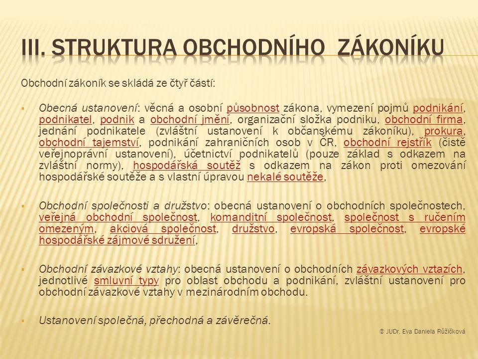 III. Struktura obchodního zákoníku