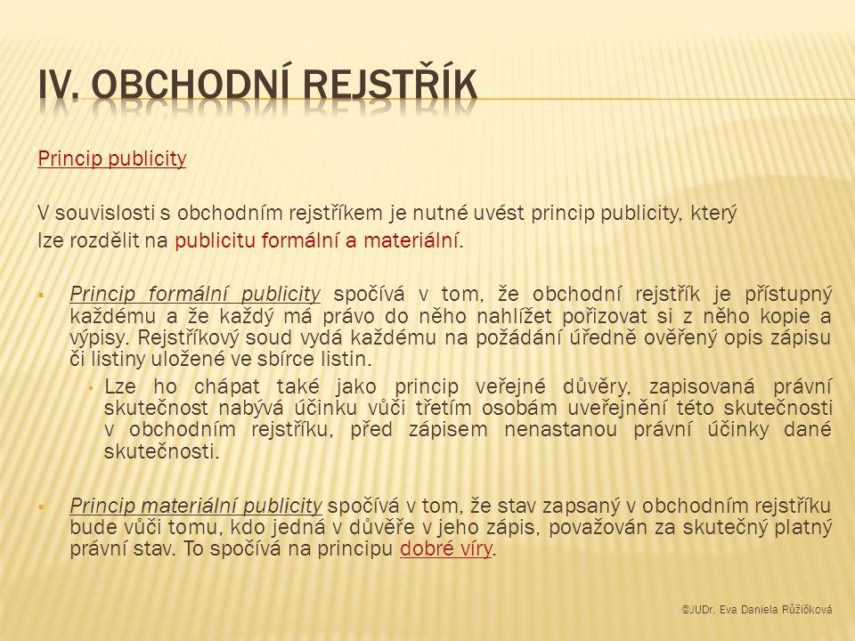 IV. Obchodní rejstřík Princip publicity