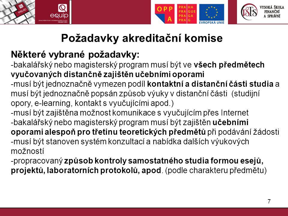 Požadavky akreditační komise