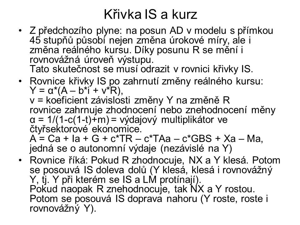 Křivka IS a kurz