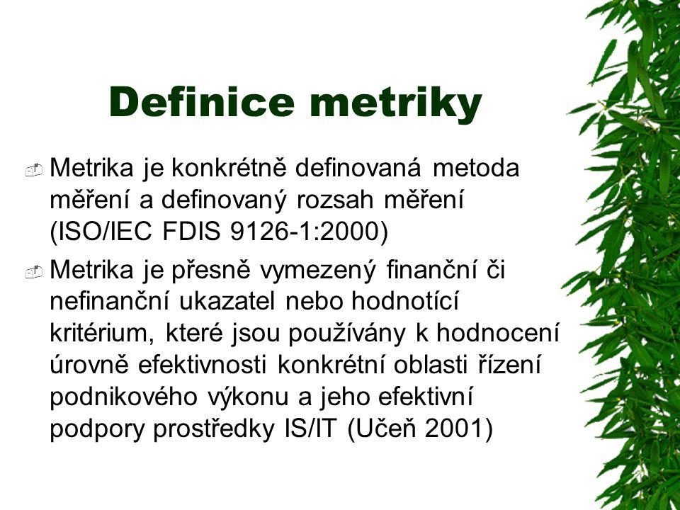 Definice metriky Metrika je konkrétně definovaná metoda měření a definovaný rozsah měření (ISO/IEC FDIS 9126-1:2000)