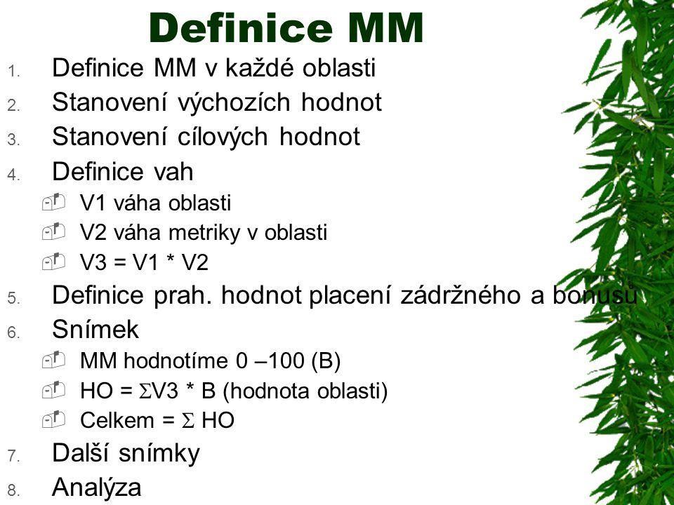 Definice MM Definice MM v každé oblasti Stanovení výchozích hodnot
