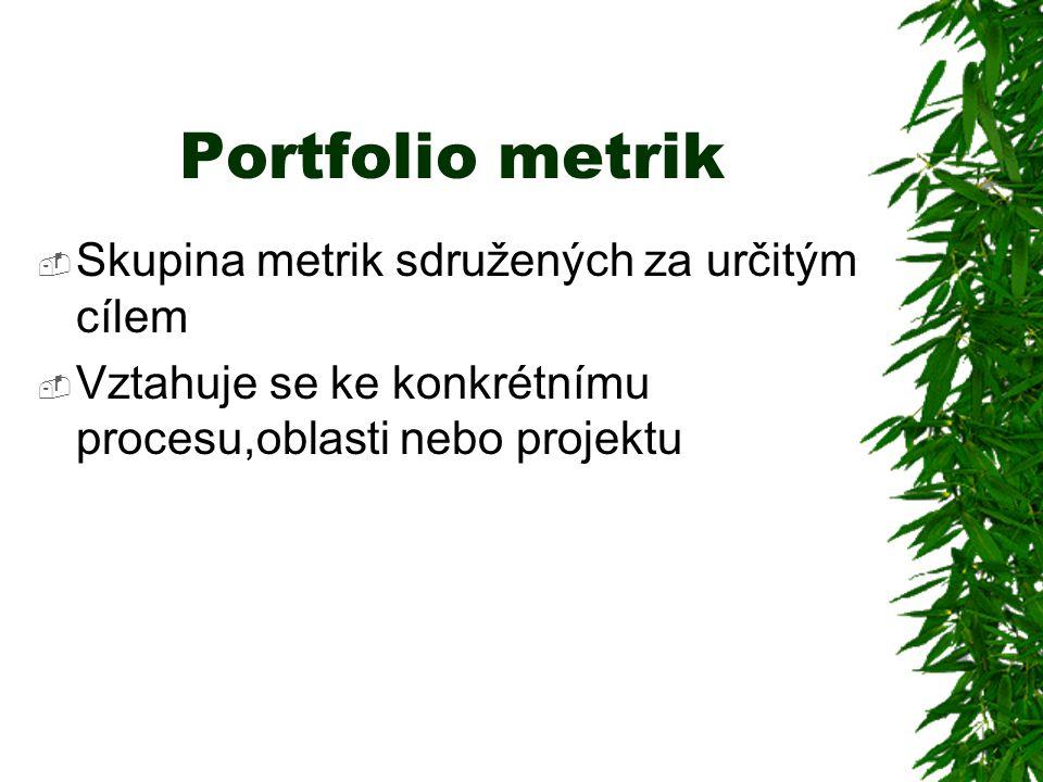 Portfolio metrik Skupina metrik sdružených za určitým cílem