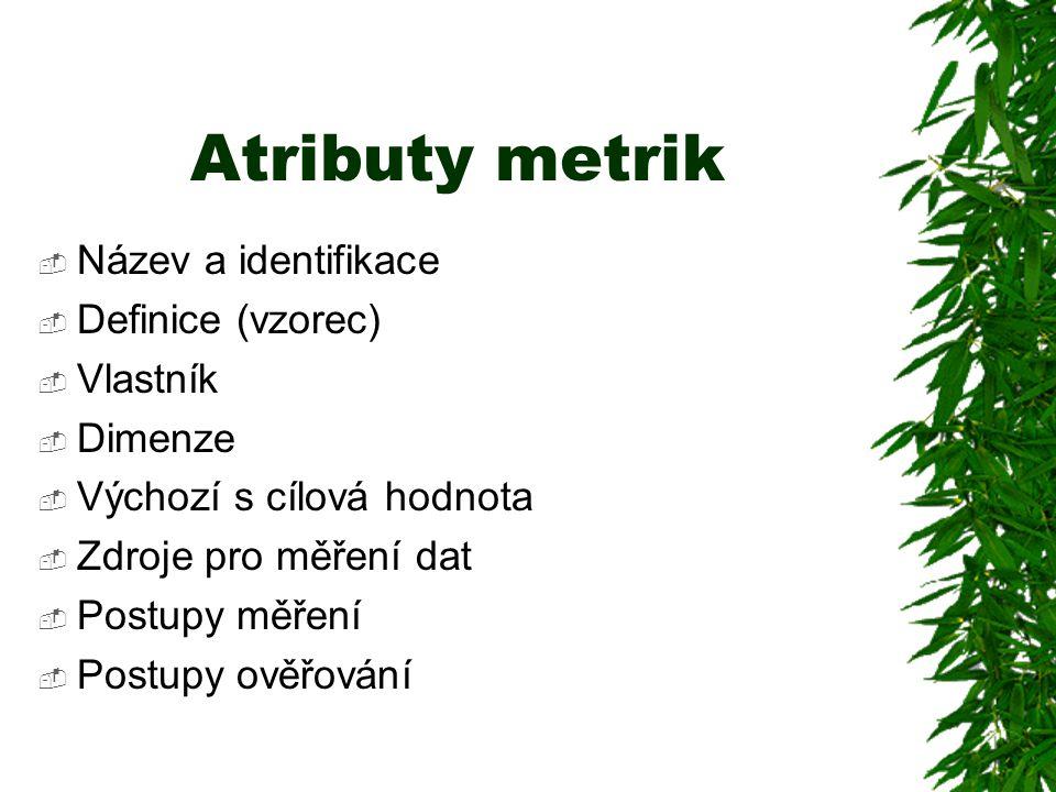 Atributy metrik Název a identifikace Definice (vzorec) Vlastník