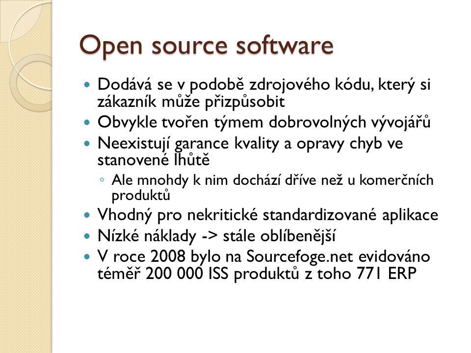Open source software Dodává se v podobě zdrojového kódu, který si zákazník může přizpůsobit. Obvykle tvořen týmem dobrovolných vývojářů.