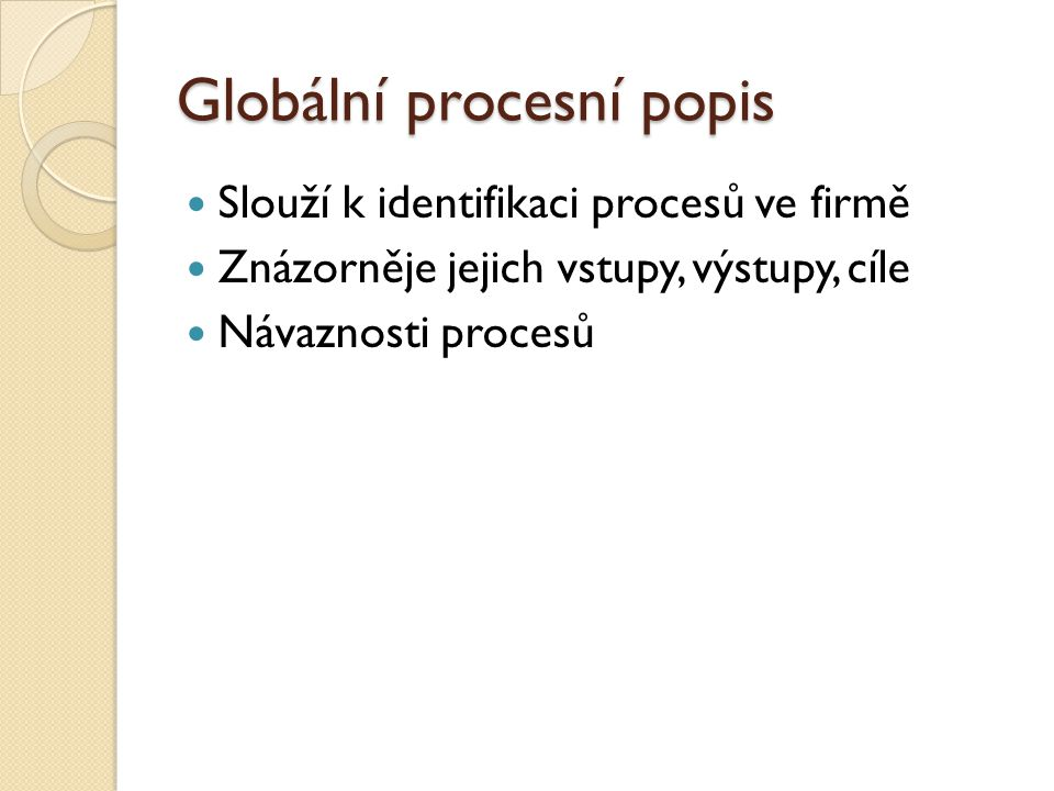 Globální procesní popis