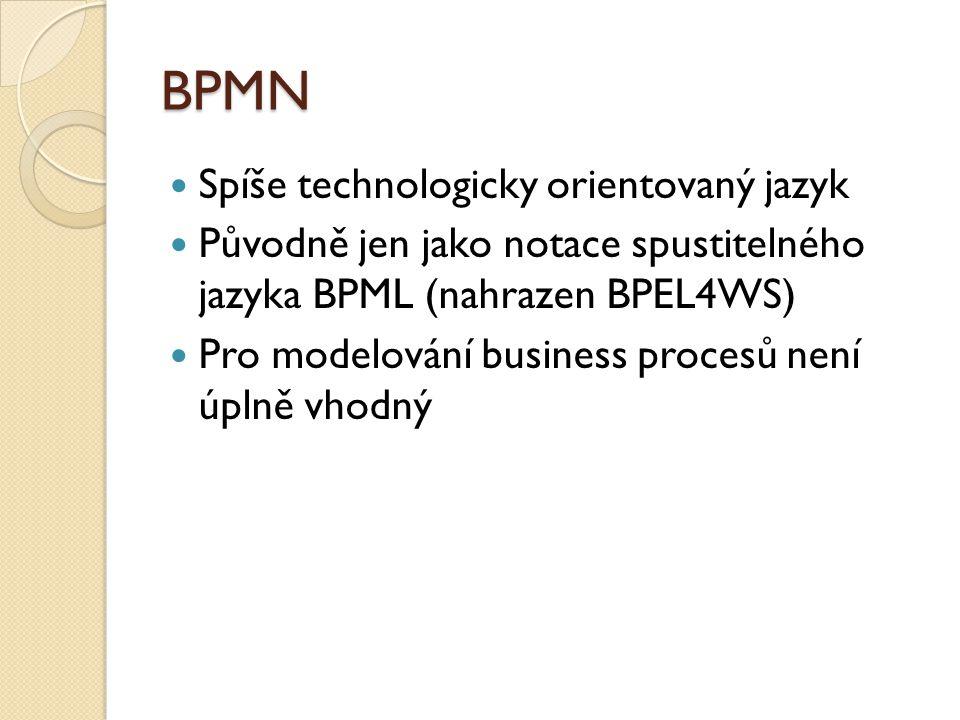 BPMN Spíše technologicky orientovaný jazyk