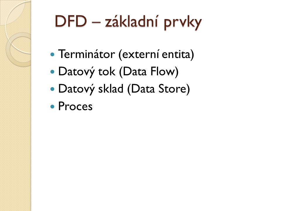 DFD – základní prvky Terminátor (externí entita)