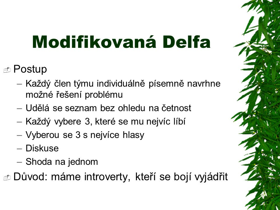 Modifikovaná Delfa Postup
