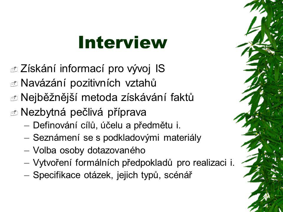 Interview Získání informací pro vývoj IS Navázání pozitivních vztahů