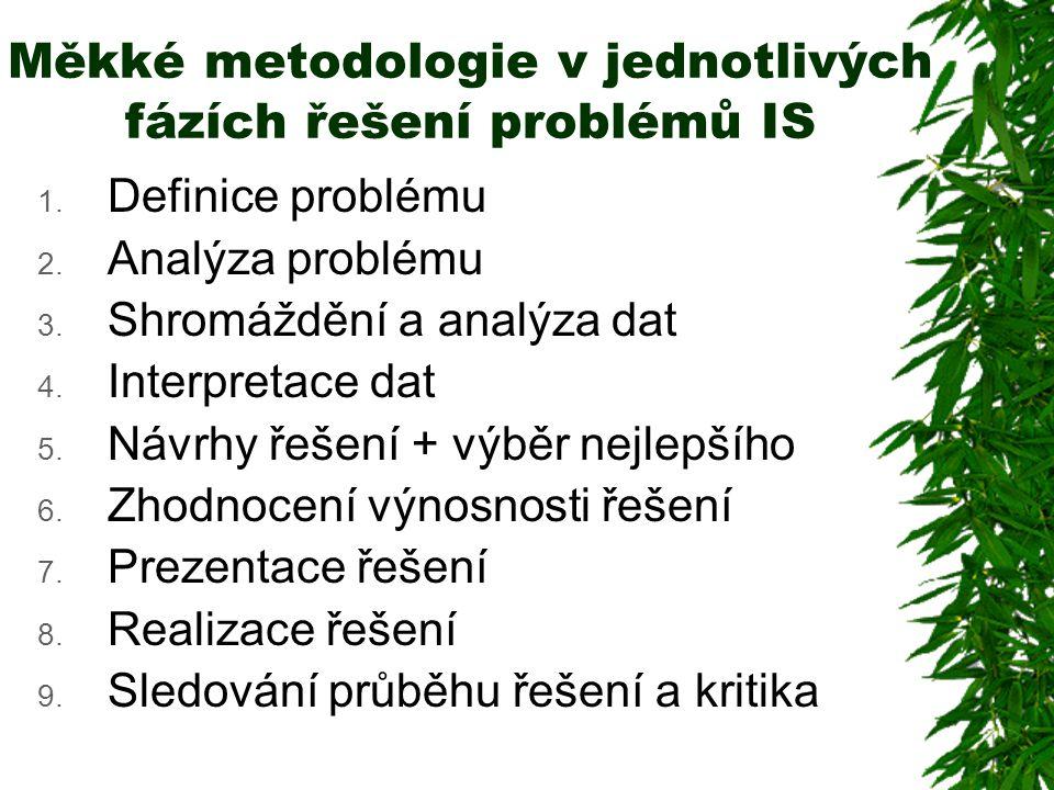 Měkké metodologie v jednotlivých fázích řešení problémů IS