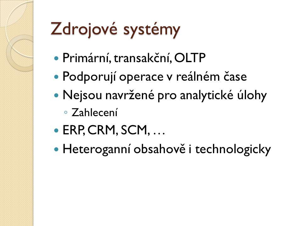 Zdrojové systémy Primární, transakční, OLTP