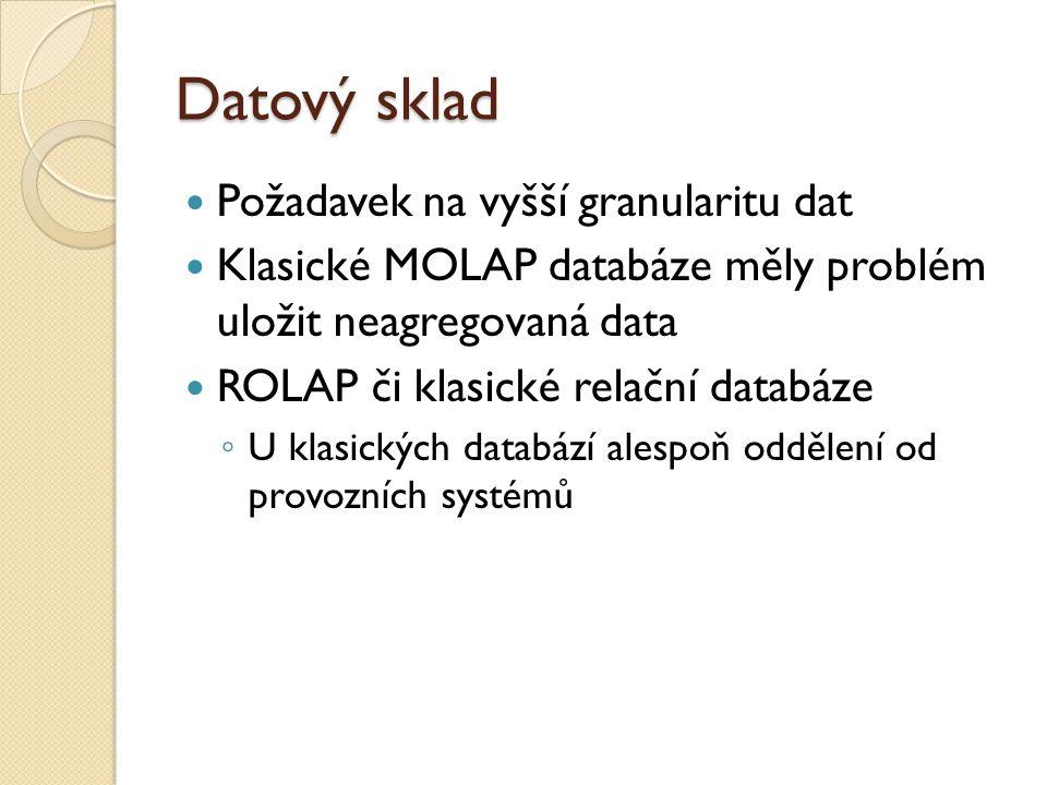 Datový sklad Požadavek na vyšší granularitu dat