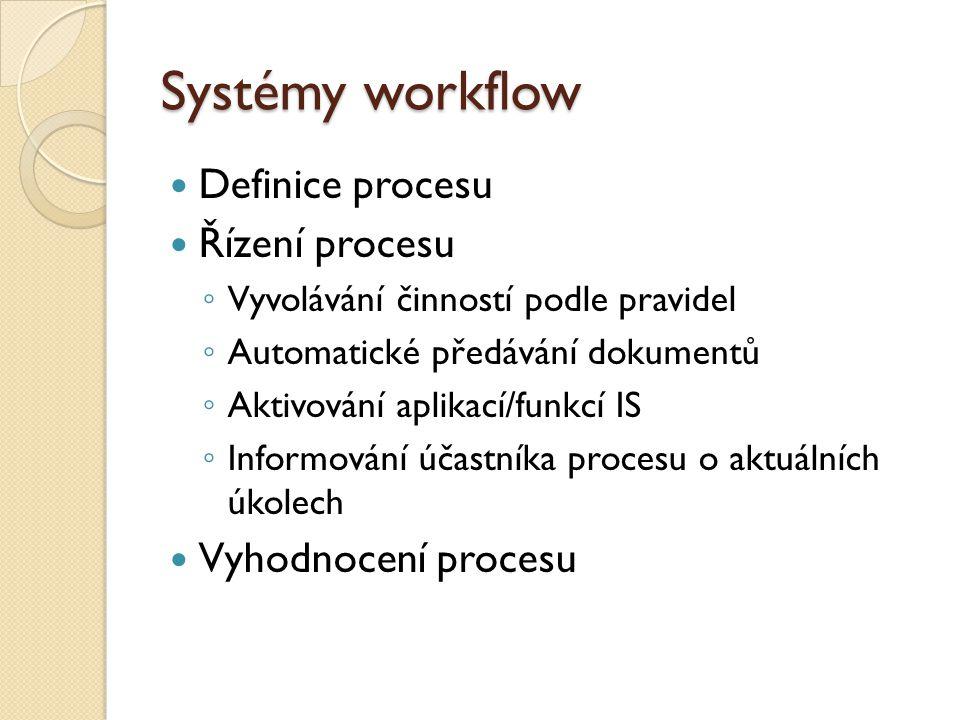 Systémy workflow Definice procesu Řízení procesu Vyhodnocení procesu