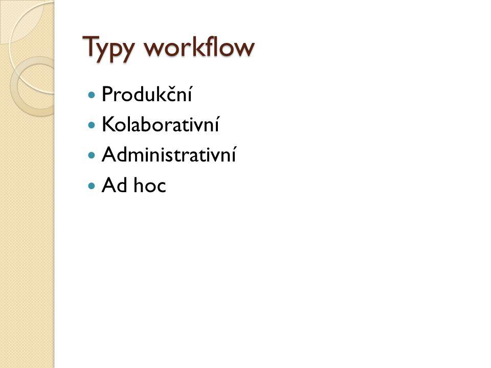 Typy workflow Produkční Kolaborativní Administrativní Ad hoc