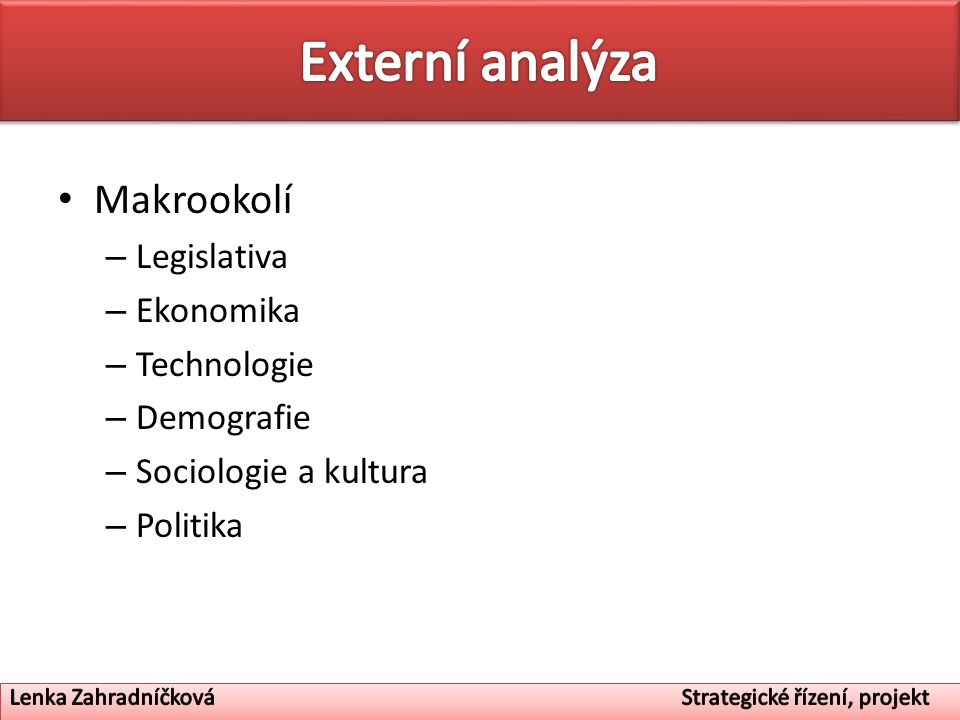 Externí analýza Makrookolí Legislativa Ekonomika Technologie