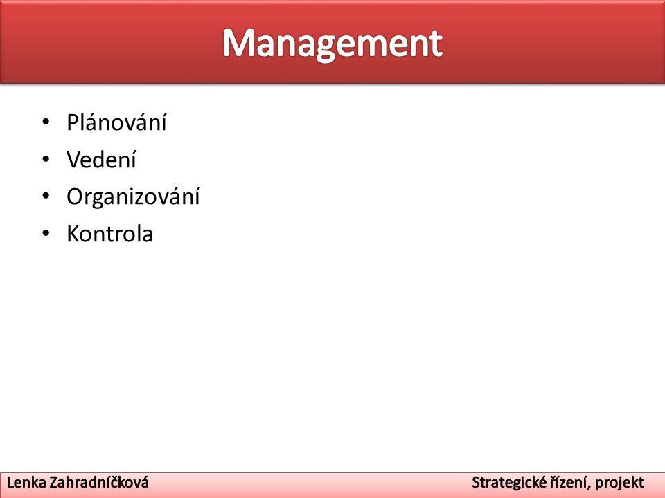 Management Plánování Vedení Organizování Kontrola