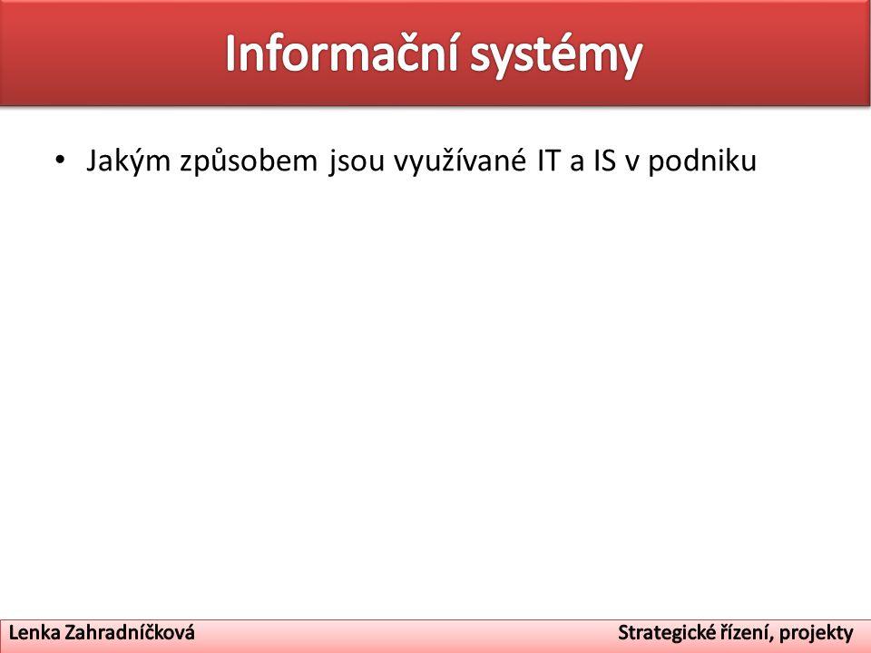 Informační systémy Jakým způsobem jsou využívané IT a IS v podniku