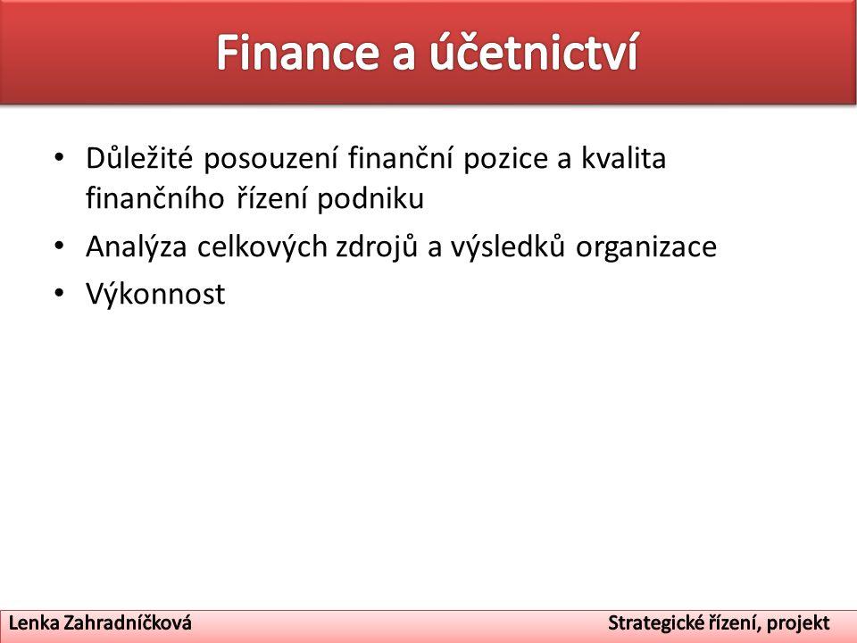 Finance a účetnictví Důležité posouzení finanční pozice a kvalita finančního řízení podniku. Analýza celkových zdrojů a výsledků organizace.