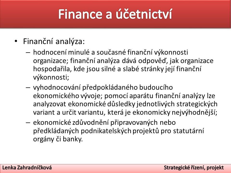 Finance a účetnictví Finanční analýza: