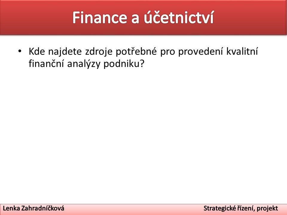 Finance a účetnictví Kde najdete zdroje potřebné pro provedení kvalitní finanční analýzy podniku