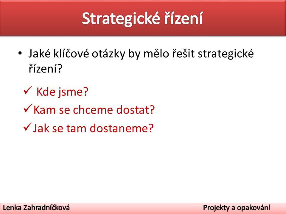 Strategické řízení Jaké klíčové otázky by mělo řešit strategické řízení Kde jsme Kam se chceme dostat