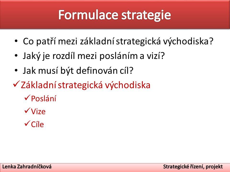 Formulace strategie Co patří mezi základní strategická východiska