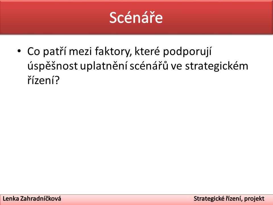 Scénáře Co patří mezi faktory, které podporují úspěšnost uplatnění scénářů ve strategickém řízení