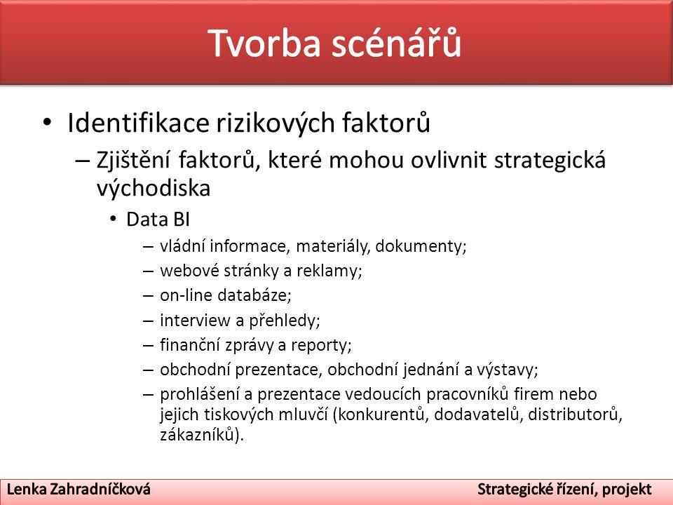 Tvorba scénářů Identifikace rizikových faktorů