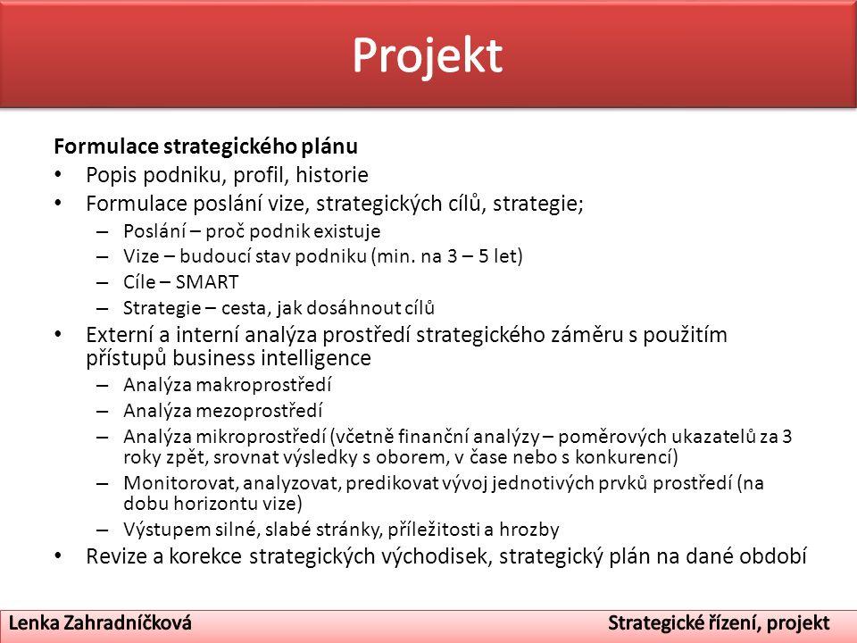 Projekt Formulace strategického plánu Popis podniku, profil, historie