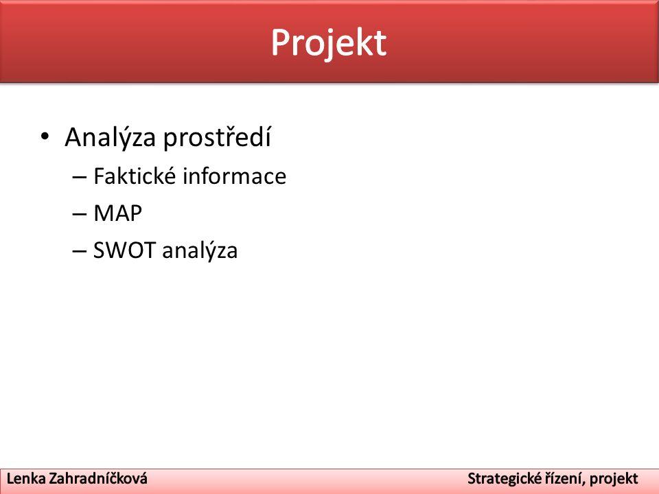 Projekt Analýza prostředí Faktické informace MAP SWOT analýza