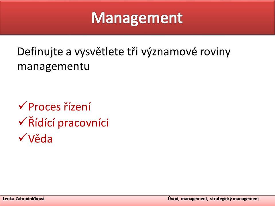 Management Definujte a vysvětlete tři významové roviny managementu