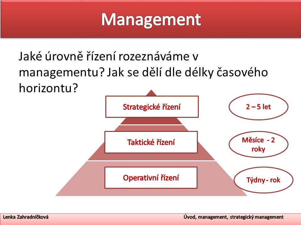 Management Jaké úrovně řízení rozeznáváme v managementu Jak se dělí dle délky časového horizontu