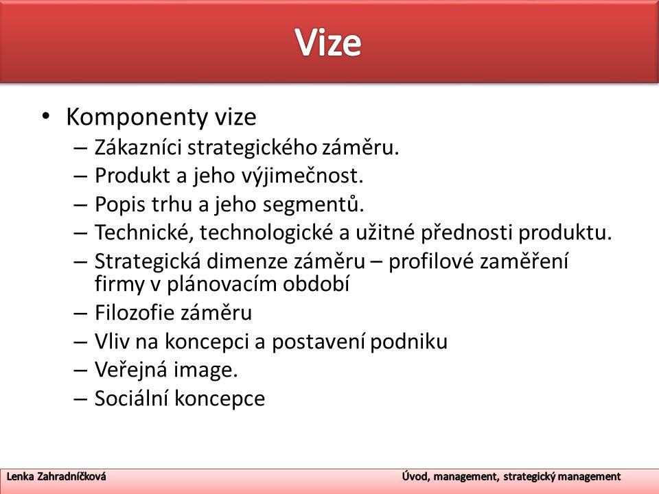 Vize Komponenty vize Zákazníci strategického záměru.