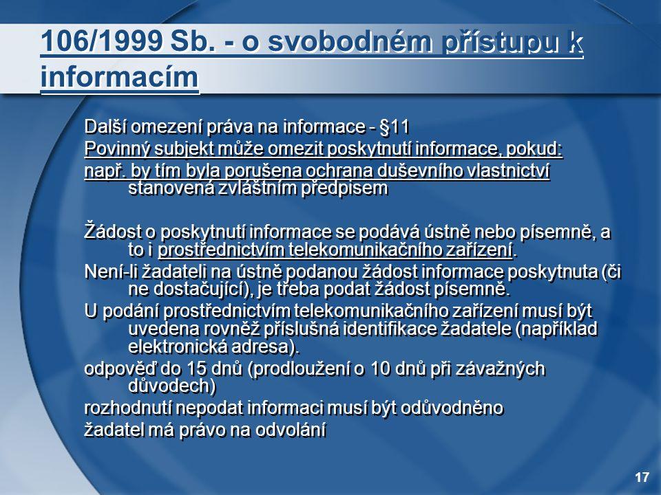 106/1999 Sb. - o svobodném přístupu k informacím