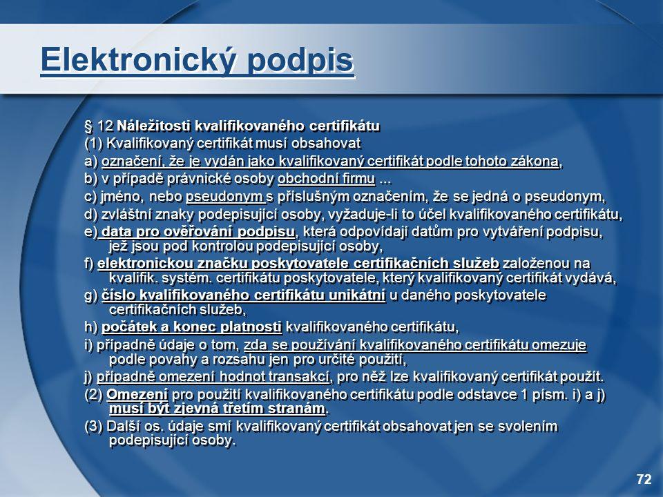 Elektronický podpis § 12 Náležitosti kvalifikovaného certifikátu