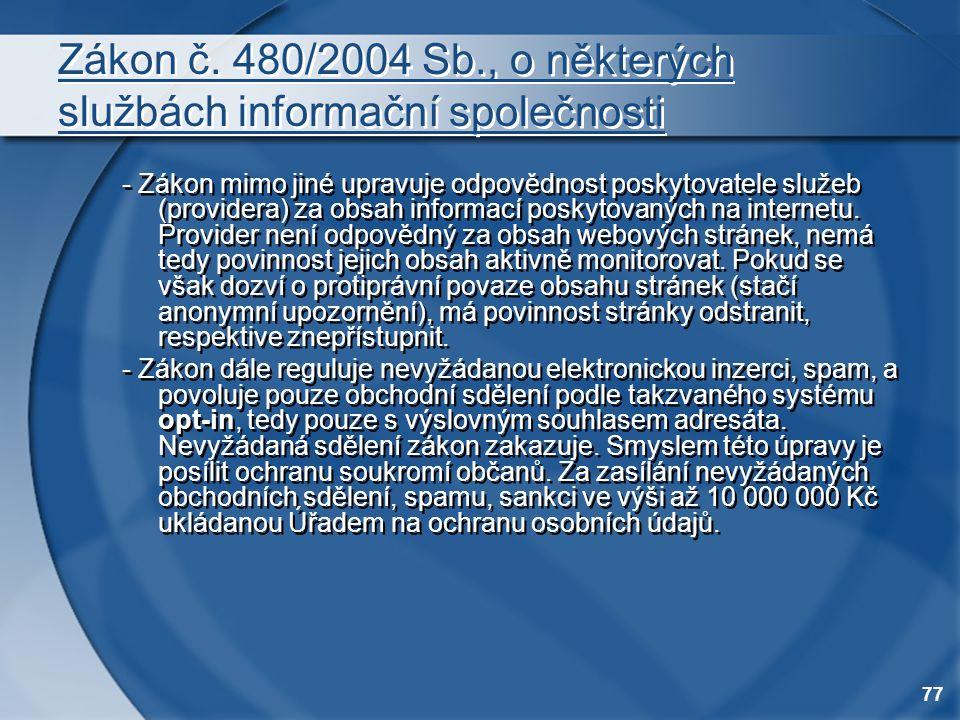 Zákon č. 480/2004 Sb., o některých službách informační společnosti