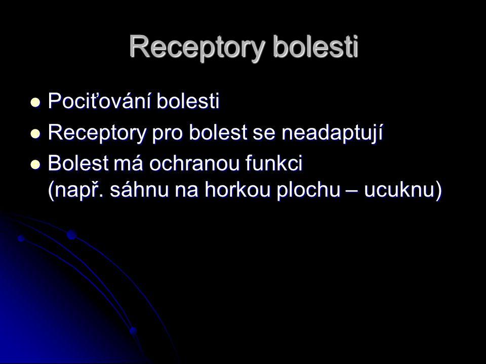 Receptory bolesti Pociťování bolesti
