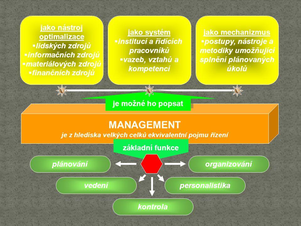 je z hlediska velkých celků ekvivalentní pojmu řízení