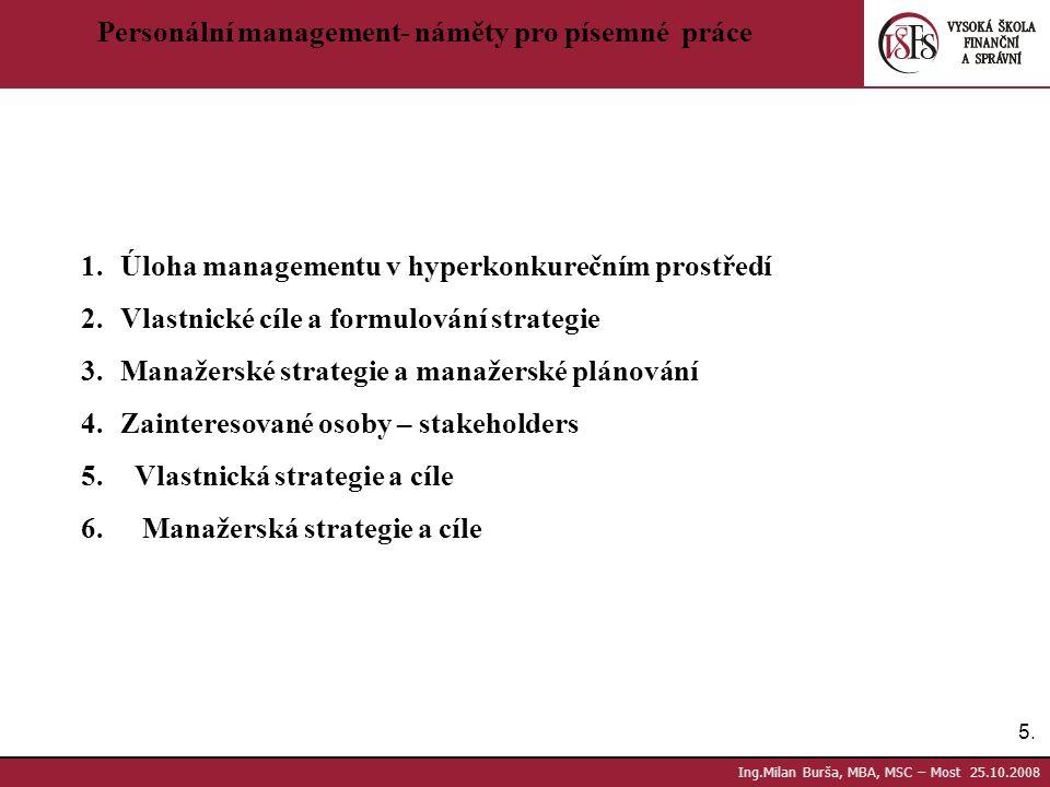 Personální management- náměty pro písemné práce