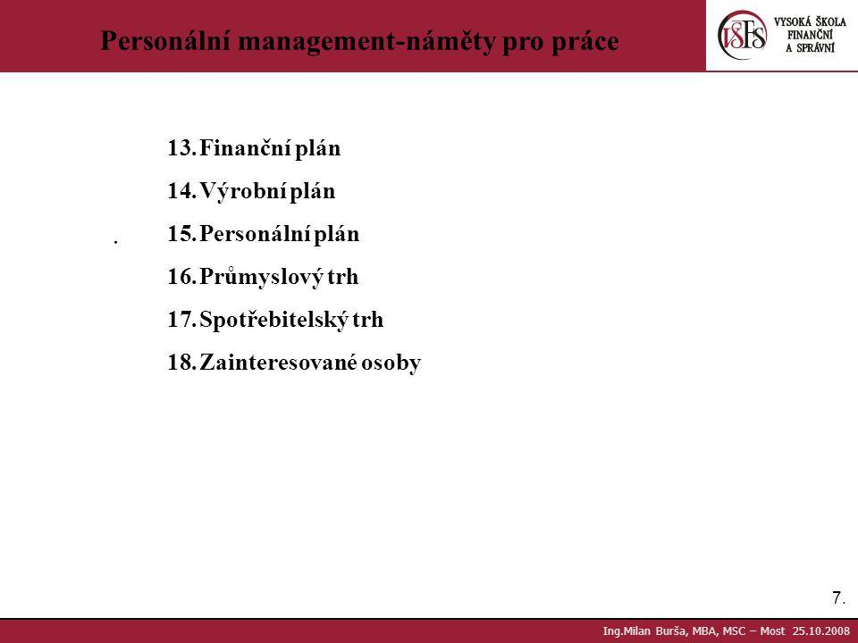 Personální management-náměty pro práce