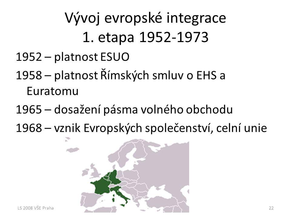 Vývoj evropské integrace 1. etapa 1952-1973