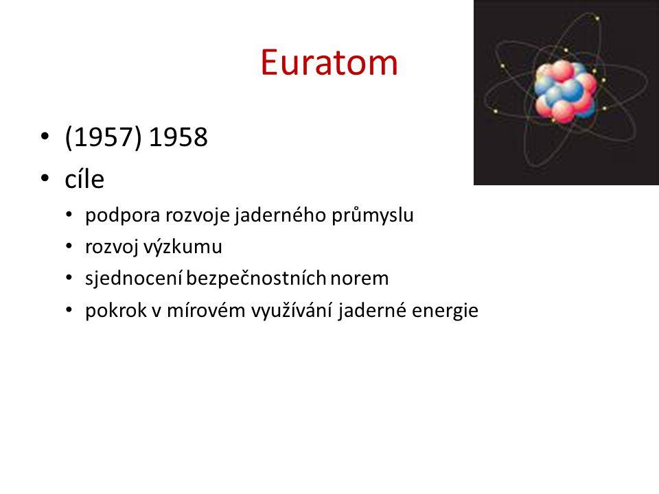 Euratom (1957) 1958 cíle podpora rozvoje jaderného průmyslu