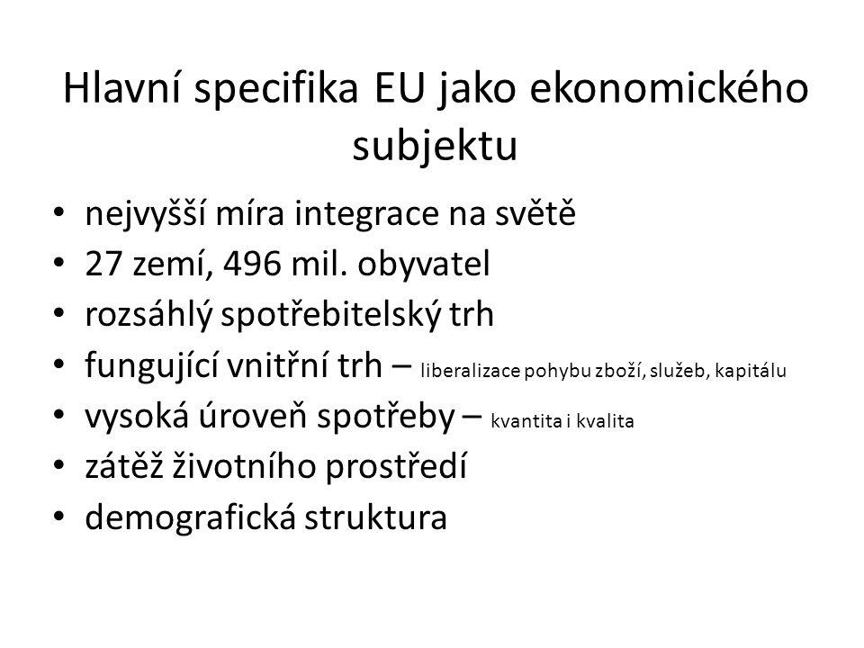 Hlavní specifika EU jako ekonomického subjektu