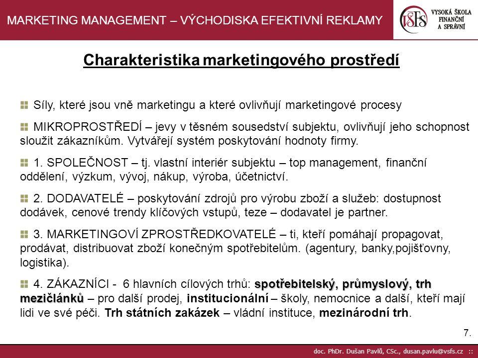 Charakteristika marketingového prostředí