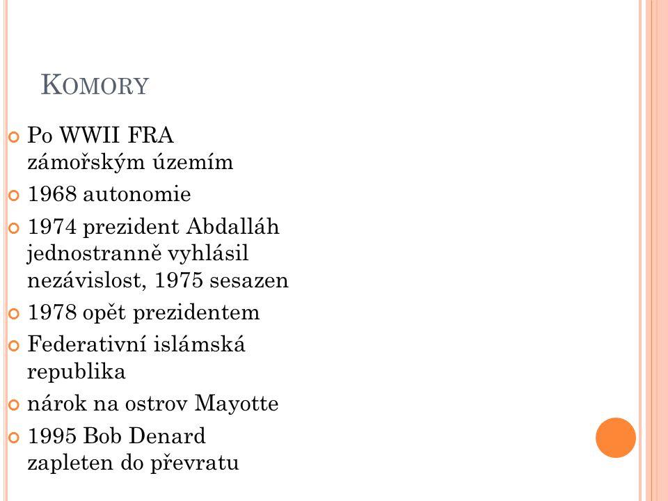 Komory Po WWII FRA zámořským územím 1968 autonomie
