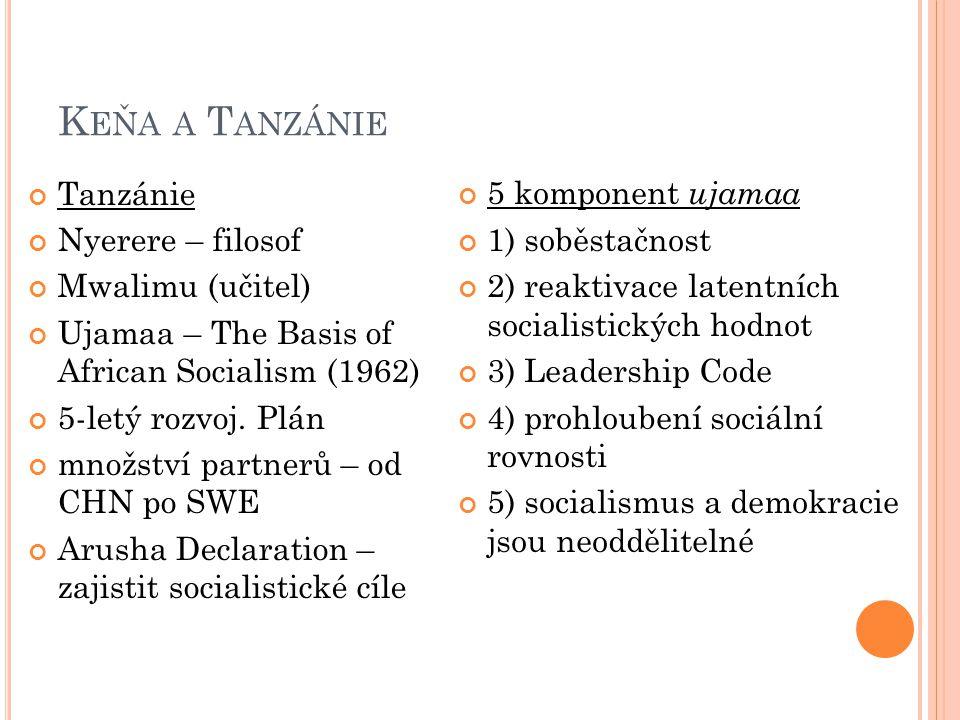 Keňa a Tanzánie Tanzánie Nyerere – filosof Mwalimu (učitel)