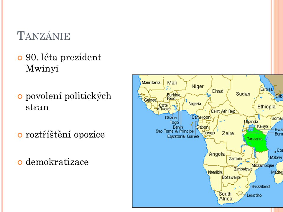 Tanzánie 90. léta prezident Mwinyi povolení politických stran